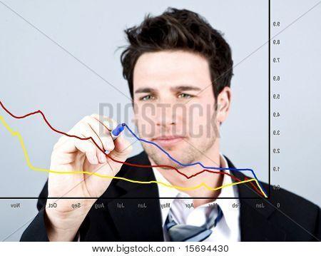 Attraktive Geschäftsmann in einem Diagramm zeichnen