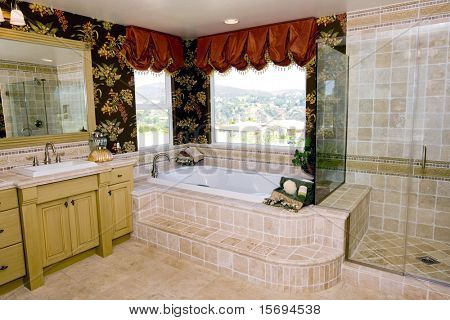 Classic master bathroom with travertine tile
