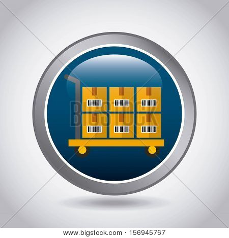 blue button with handcart with carton boxes inside over white background. export and import colorful design. vector illustration