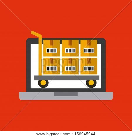 laptop computer and handcart .with carton boxes over red background. export and import colorful design. vector illustration