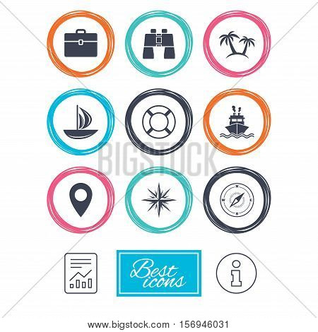 Cruise trip, ship and yacht icons. Travel, cocktails and palm trees signs. Sunglasses, windrose and swimming symbols. Report document, information icons. Vector