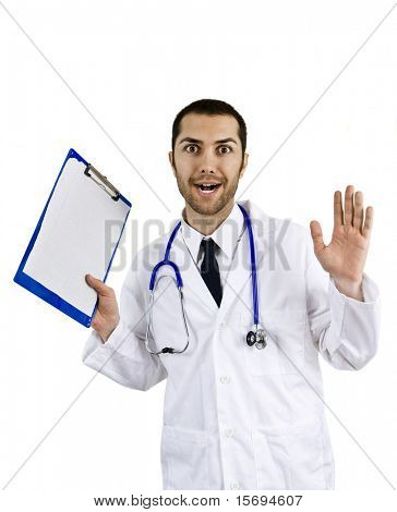 Expressive medical doctor holding clipboard