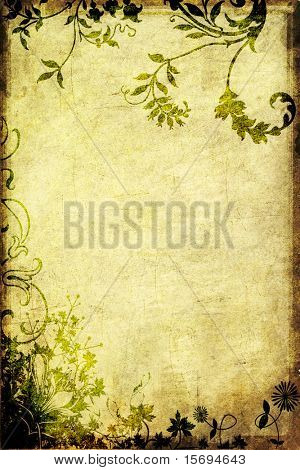 Grungy background with flowers and vines