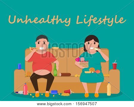Vector illustration concept unhealthy lifestyle, human laziness. Cartoon fatty husband and wife sitting on couch and eat junk food. Fat man, woman obese on sofa. Flat style. Harmful food for health.