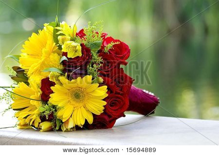 Beautiful bridal bouquet in bright colors
