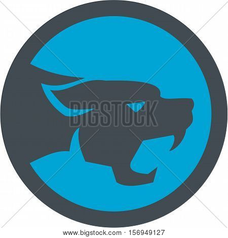 Illustration of black panther cat head growling viewed from the side set inside circle on isolated background done in retro style.