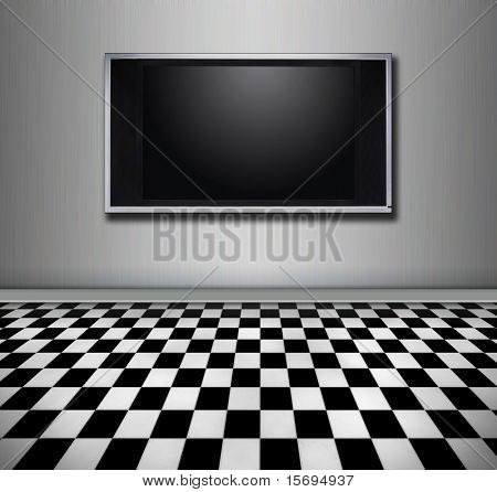 Flat screen tv hanging in a modern room