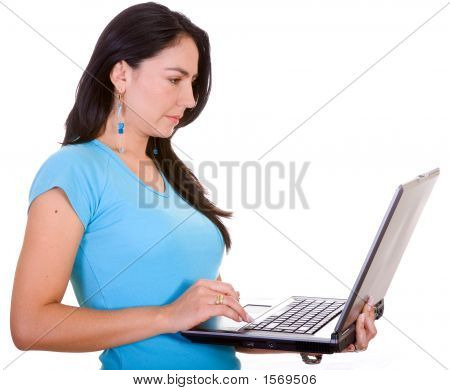 Casual Girl With A Laptop