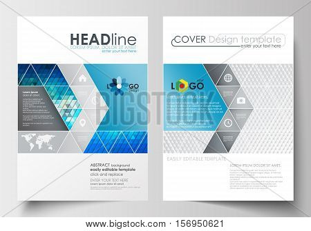 Business templates for brochure, magazine, flyer, booklet or annual report. Cover design template, easy editable blank, abstract flat layout in A4 size. Abstract triangles, blue and gray triangular background, modern polygonal vector.