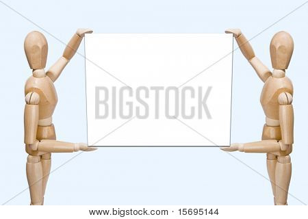 Wood team holding blank sign for copy