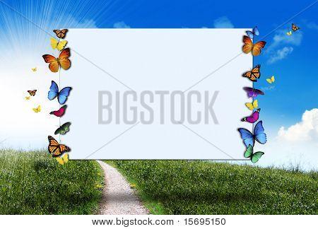 Butterflies holding a blank sign - sunny spring hillside