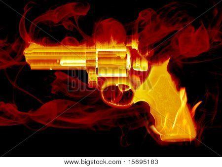 Pistola de mano fumar rojo ardiente