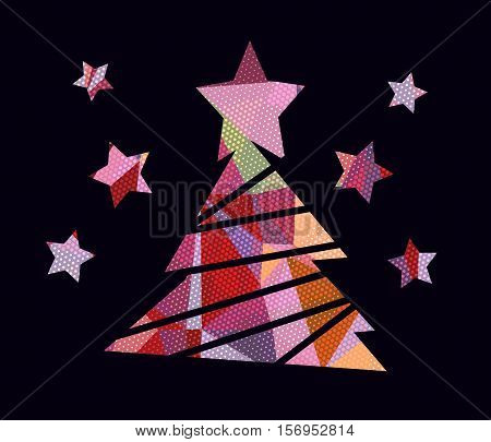 Flat christmas tree icon with colorful abstract pattern. Christmas background. Texture for New Year holidays and Christmas. Colorful background with simple stylized christmas tree.