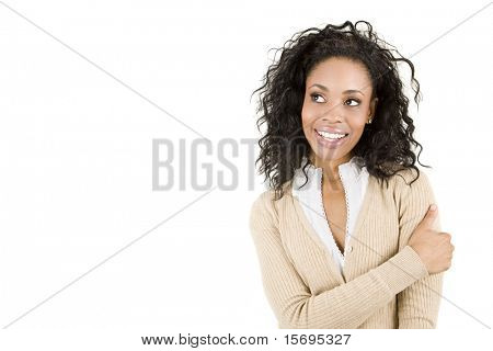 Beautiful casual business woman with copy space