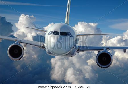 Commercial Airliner In Flight