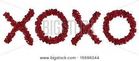 Red rose petals forming the letters XOXO - see portfolio for other letters