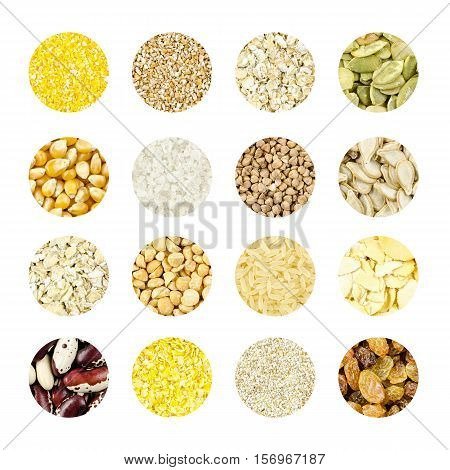 collage of different grains and seeds for a healthy diet, blank for healthy food editions.