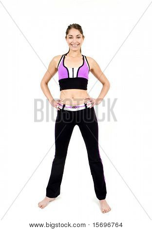 Attractive young fit woman exercising