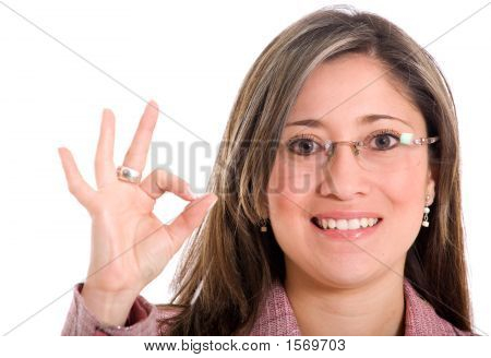 Business Woman Doing The Ok Sign