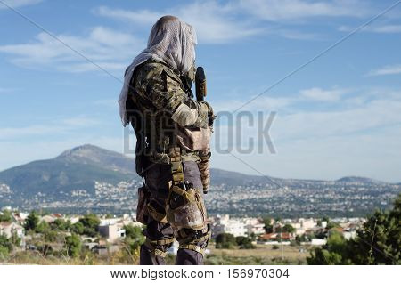 sniper recon target scope multicam ghillie suit