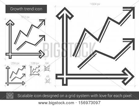 Growth trend vector line icon isolated on white background. Growth trend line icon for infographic, website or app. Scalable icon designed on a grid system.