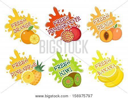 Fruits splash set of labels. Fruit splashes, drops emblem. Splash and blot collection. Vector illustration