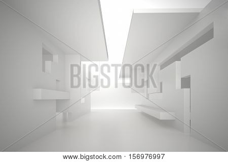 3d illustration. White interior of a non-existent building. The walls of the room with rectangular holes multilevel ceiling. Light in perspective. Architectural minimalistic background render.