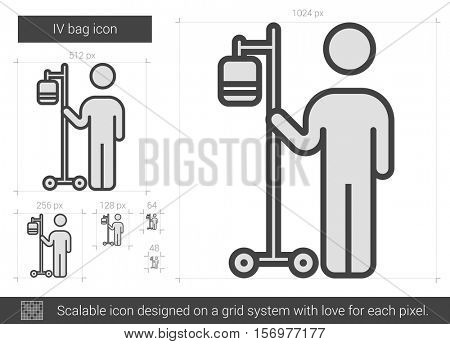 IV bag vector line icon isolated on white background. IV bag line icon for infographic, website or app. Scalable icon designed on a grid system.
