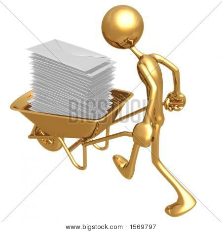 Pushing Wheelbarrow Full Of E-Mail Letters