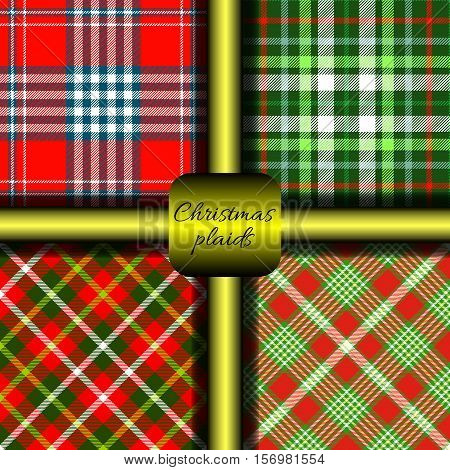 Bundle of four seamless Christmas plaid patterns. Festive checkered prints for Advent & Christmas table decorations, centerpieces, tablecloths, runners, napkins, coasters, placemats, DIY paper craft.