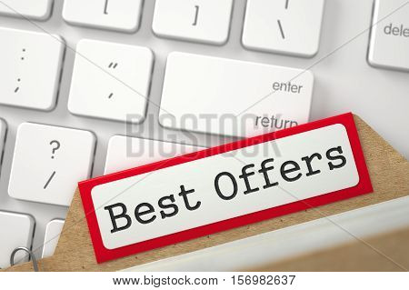 Red Card File with Best Offers on Background of White Modern Computer Keypad. Closeup View. Blurred Illustration. 3D Rendering.
