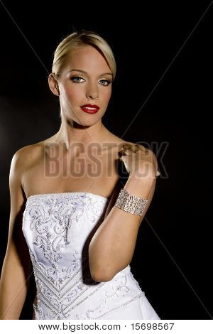 Beautiful bride against a black background