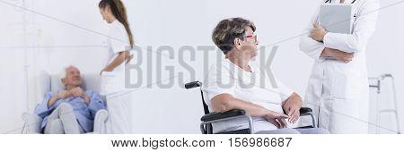 Eldery Woman In The Wheelchair