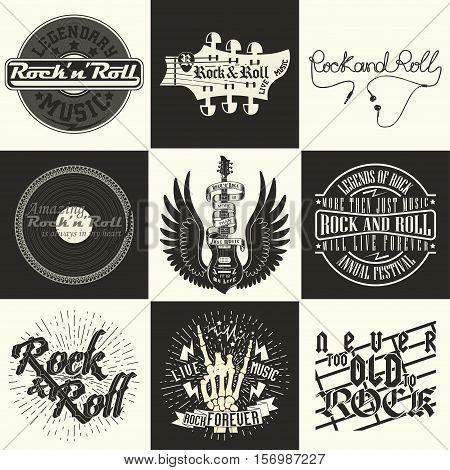 Set of  Monochrome Rock music prints, hipster vintage labels, graphic design , rock-music tee print stamp design. t-shirt print lettering artwork, vector