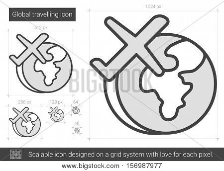 Global traveling vector line icon isolated on white background. Global traveling line icon for infographic, website or app. Scalable icon designed on a grid system.