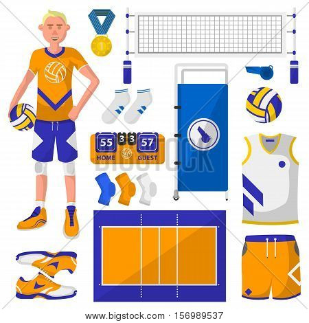 Set of symbols, logos and icons of volleyball. Volleyball player with ball and sport equipment protection, trackers, silhouettes of players, uniforms, clothing and shoes. Vector Illustration. Isolated on white.