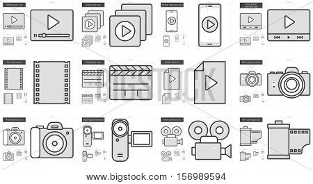Media vector line icon set isolated on white background. Media line icon set for infographic, website or app. Scalable icon designed on a grid system.