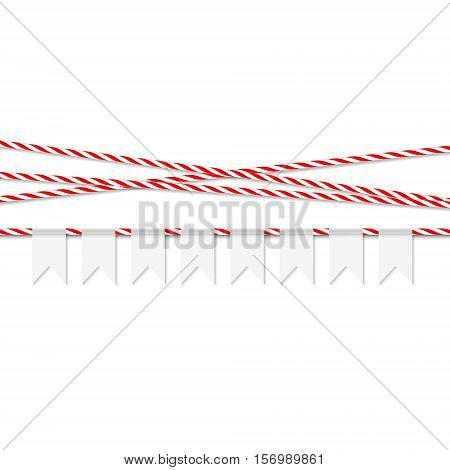 Abstract white background with white bunting banner and red bakers twine ribbons