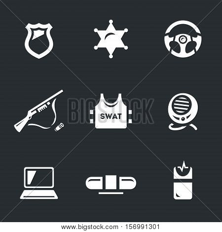 Police badge, sheriff star, wheel, weapons, body armor, radio, laptop, flasher, shocker.