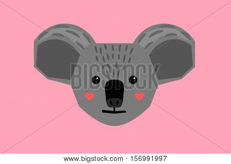 Koala head in flat style on pink background