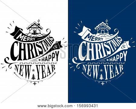 Merry Christmas Happy New Year lettering logo design. Holiday wishes in black and white color. Vector image for christmas new years day greeting card winter holiday label new years eve banner