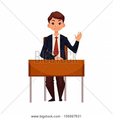 Clever school boy sitting at the desk and raising hand to answer, cartoon vector illustration isolated on white background. Pretty boy in school uniform sitting at the desk and willing to answer