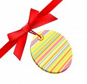 stock photo of happy easter  - vector easter bow with tag - JPG
