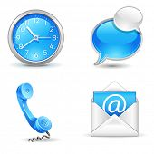 office  icons - clock, handset, mail, chat