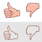 stock photo of disapproval  - thumbs up or thumbs down as approval or disapproval icons vector - JPG