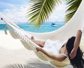stock photo of woman beach  - Beach Hammock - JPG