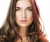 stock photo of brown-haired  - Beauty with perfect natural makeup look and long hair - JPG