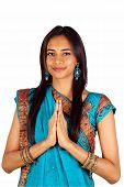 image of salwar  - Young Indian in a namaste - JPG
