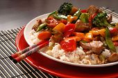 pic of chinese food  - An Asian pork stir fry with chop sticks - JPG