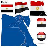 Egypt vector set. Detailed country shape with region borders, flags and icons isolated on white back